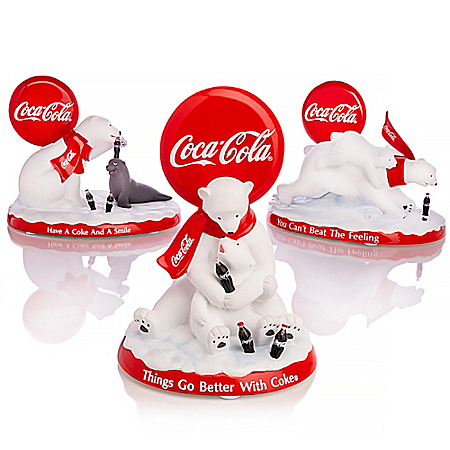 COCA-COLA Polar Bears Hand-Painted Figurine Collection