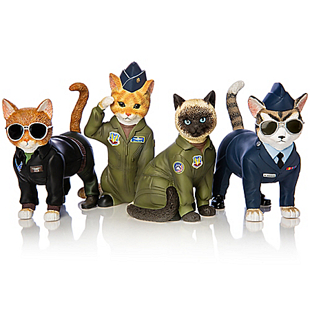 Purr-ide In The Skies U.S. Air Force Cat Figurine Collection