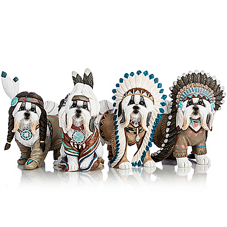 Feathers 'N Fur Shih Tzu Handcrafted Figurine Collection