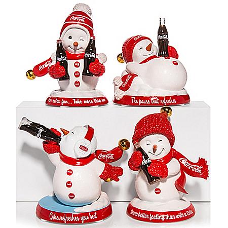 COCA-COLA Snowman Figurines With Jingle Bells