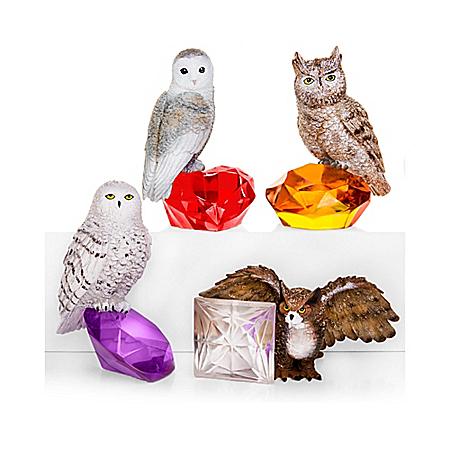 Nene Thomas Rare Gem-Inspired Owl Figurine Collection