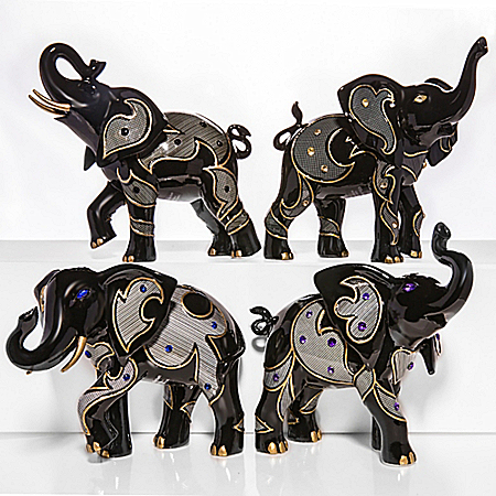 Keith Mallet Gem-Inspired Black Elephant Figurines