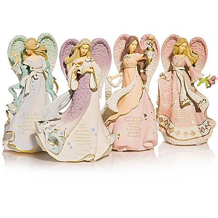 Karen Hahn Angel Figurine Collection With Swarovski Crystals