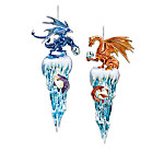 Kingdom Of The Ice Dragons Ornament Collection: Fantasy Dragon Christmas Tree Decor