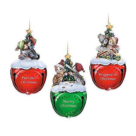 Meowy Christmas Jingle Bells Kitten Holiday Ornament Collection