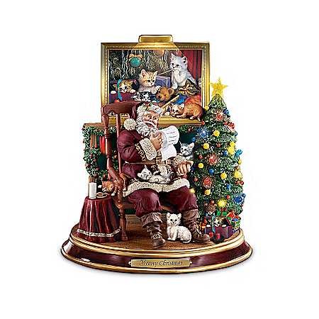 Santa Paws Illuminated Figurine Collection: Cat Lovers Christmas Decor
