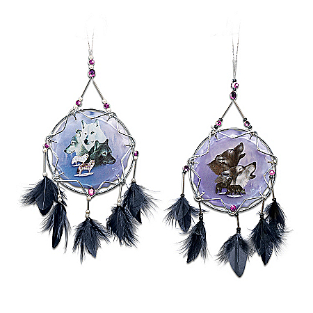 Dream Spirits Wolf Art Dreamcatcher Christmas Ornament Collection