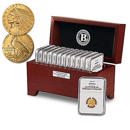 Complete US Indian Head Gold Quarter Eagle Coin Collection With FREE Display Box