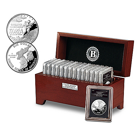 The U.S. Veterans Proof Silver Dollar Coin Collection With Display Box