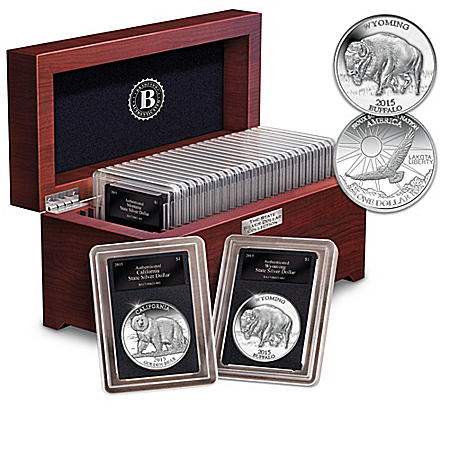 The All-New State Silver Dollar Coin Collection With Display Box