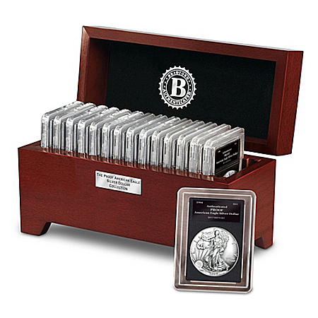 The Complete Proof American Eagle Silver Dollar Coin Collection With Display Box