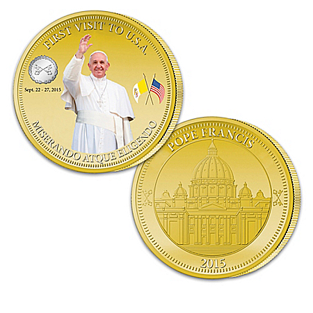 Pope Francis Papal Visit 2015 Golden Proof Coin Collection: 1 of 2015