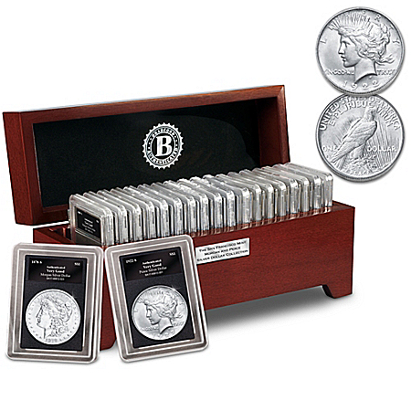 San Francisco Morgan And Peace Silver Dollar Collection With Deluxe Display Box