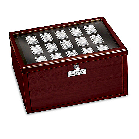 U.S. Statehood Complete 50-State Silver-Plated Ingot Collection With Deluxe Wooden Display Box