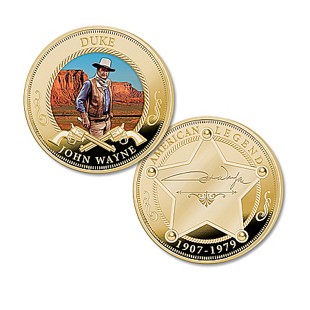 John Wayne 24K Gold Plated Proof Coin Collection with Duke Imagery: Display Box