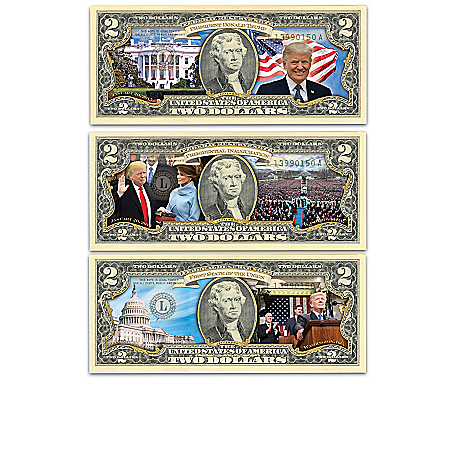 President Donald Trump Vivid Full-Color  Bills Currency Collection