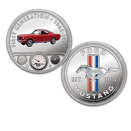Ford Mustang Colorized Proof Coin Collection With Display