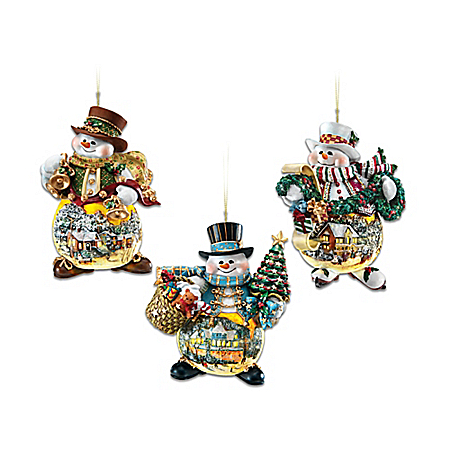 Thomas Kinkade Snowman Ornament Collection: Memories Of Christmas