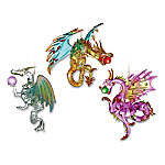 Dragons Of Mystic Mountain Spun Glass Dragon Christmas Ornament Collection