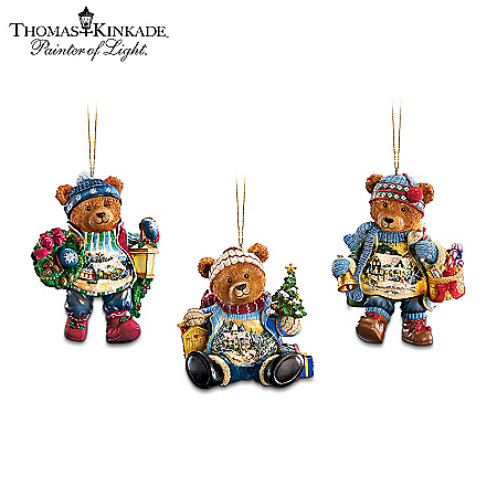 Collectible Teddy Bears Thomas Kinkade Teddy Bear Christmas Ornament Collection