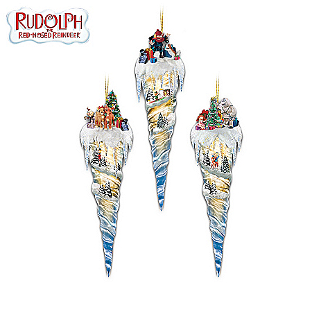 Rudolph The Red-Nosed Reindeer Icicle Treasures Christmas Tree Ornament Collection