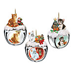 Purr-fect Holiday Sleigh Bells Kitten Ornament Collection