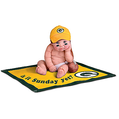 Officially Licensed By NFL Properties LLC: Green Bay Packers #1 Fan Lifelike Baby Doll Collection