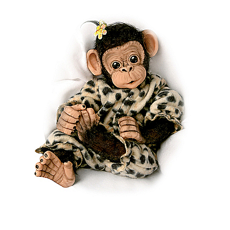 """Love To Be Cuddled"" Lifelike Baby Chimpanzee Monkey Doll Collection"