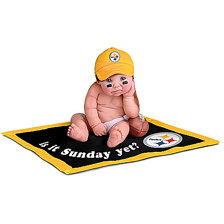 Officially Licensed By NFL Properties LLC: Pittsburgh Steelers #1 Fan Lifelike Baby Doll Collection
