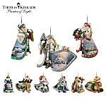 Thomas Kinkade Victorian Heirloom Santa Ornament Collection With A Super Starter Set