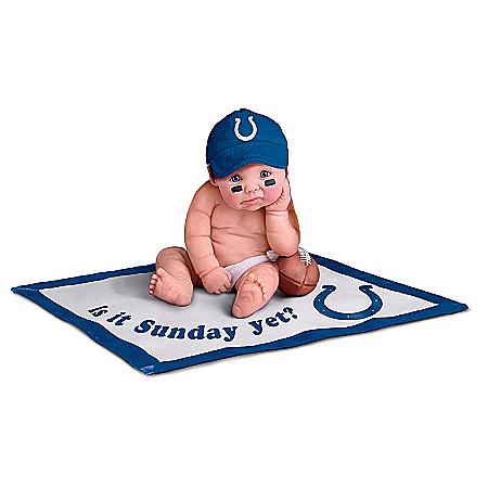 Officially Licensed By NFL Properties LLC: Indianapolis Colts #1 Fan Lifelike Baby Doll Collection