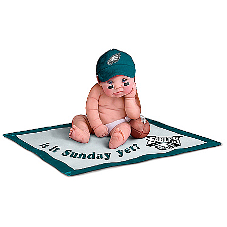 Officially Licensed By NFL Properties LLC: Philadelphia Eagles #1 Fan Lifelike Baby Doll Collection