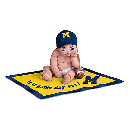 Officially Licensed Michigan Wolverines #1 Fan Baby Doll Collection With Gear