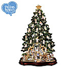 Precious Moments Lighted Nativity Christmas Tree With Angels Collection