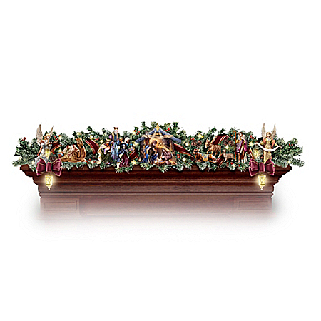 Thomas Kinkade Nativity Garland Collection: Lighted Indoor Christmas Decoration