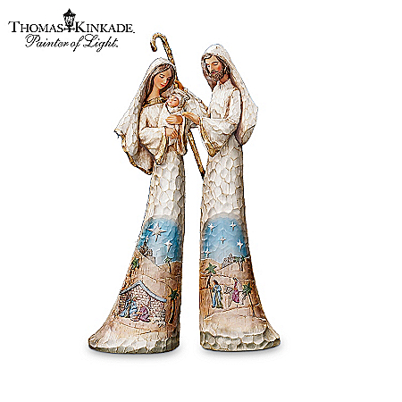 Thomas Kinkade Hand-Carved Wood-Look Nativity Figurine Collection: Elegant Blessings