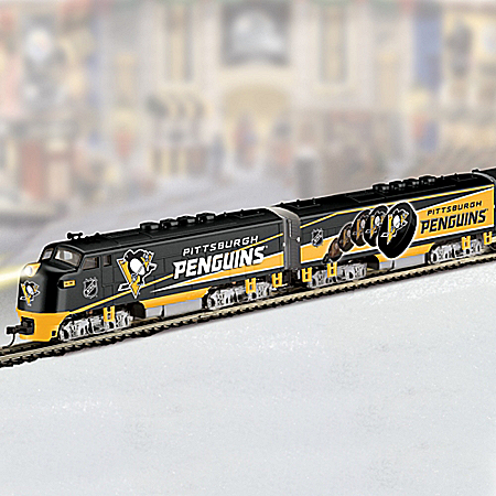 NHL Pittsburgh Penguins Electric Train Collection with Stanley Cup Car