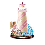 Breast Cancer Support Illuminated Lighthouse Figurine Collection: Shine The Light Of Hope