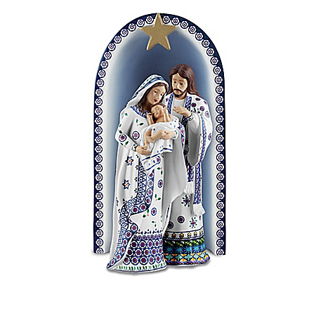 "The Folk Art Polish Stoneware Pottery-Inspired Nativity Collection: ""Silent Night"""