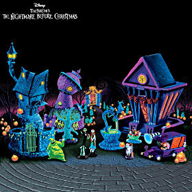 Nightmare Before Christmas Black-Light Halloween Village