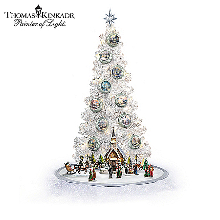 Thomas Kinkade Perfect Christmas Morning Tree With Sculptures Collection