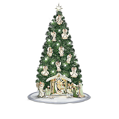 Nativity Scene with Pre-Lit Angel Christmas Tree Collection: Emerald Elegance