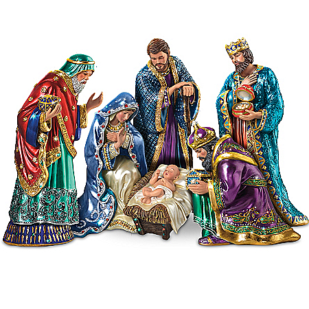 The Jeweled Nativity Peter Carl Faberge-Inspired Figurine Collection