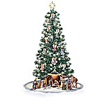 Thomas Kinkade Blessed Nativity Christmas Tree And Angel Ornament Collection