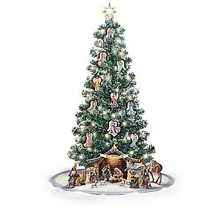 Thomas Kinkade Nativity Christmas Tree And Angel Ornament Collection With Skirt