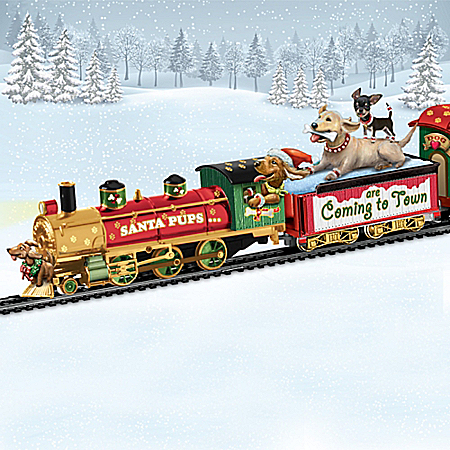 Santa Pups Holiday Electric Train Collection with Bobblehead Dogs: Lights Up