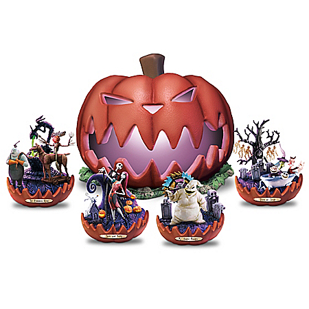 Disney Nightmare Before Christmas Pumpkin King Sculpture Collection Lights Up