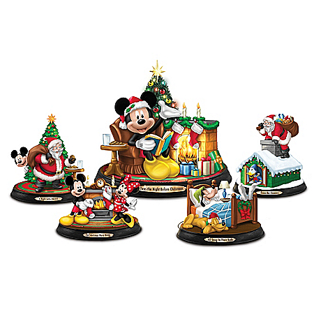 Disney Mickey Mouse Twas The Night Before Christmas Figurine Collection
