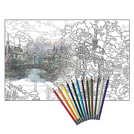 Thomas Kinkade Artistic Escapes Adult Coloring Pencil Kit Collection