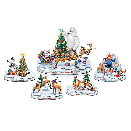 Rudolph's Christmas Town Sculptural Figurine Collection with Lights and Music